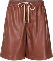 nanushka doxxi vegan leather shorts - brown