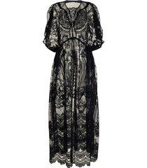 mame kurogouchi raschel lace short-sleeved coat - black