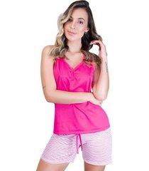 pijama mvb modas blusa e short com laço feminino