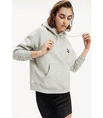 tommy hilfiger women's organic cotton badge hoodie light grey heather - xxs