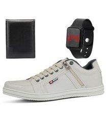 kit sapatênis casual sapatofran bege com relógio e carteira