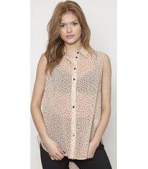 blusa cuello clasico sin mangas beige 609 seisceronueve