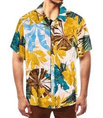camisa bohemia tropical de vacaciones de playa con estampado tropical de algodón de verano para hombres