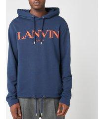 lanvin men's chest logo hoodie - navy - xl
