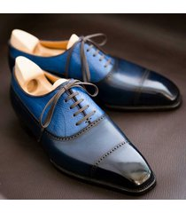 new handmadetwotone leather shoes formal wedding party dress casual shoe blue an