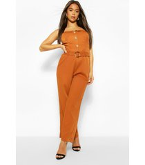 button through strappy belted wide leg jumpsuit, rust