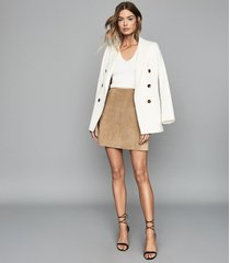 reiss aleida - double breasted blazer in off white, womens, size 10