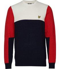 colourblock crew sweat-shirt tröja multi/mönstrad lyle & scott