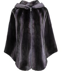 mink fur zipped hooded poncho