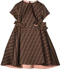 fendi brown dress with logo trama