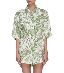 'empire' botanical print utility playsuit