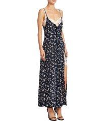 cinq à sept women's jocelyn silk dress - navy multi - size 2