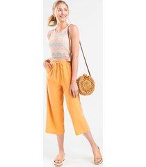 women's wendie cropped front tie pants in orange by francesca's - size: 3x