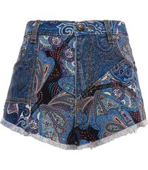 etro ibiza patchwork denim shorts