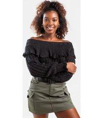 siena off the shoulder sweater - black