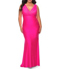 la femme jersey trumpet gown, size 20w in neon pink at nordstrom