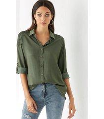 yoins green classic collar long sleeves smocked design blouse
