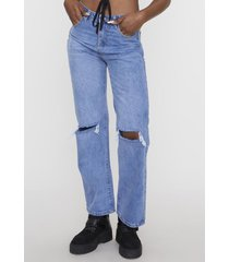 jeans wide leg noventero  azul claro  corona