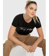 camiseta negro tommy hilfiger