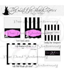 the little black dress party package - birthday - bridal shower - decorations