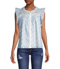 allison new york women's eyelet-embroidered top - light blue - size s