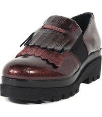 zapato mocasin flecos elástico burdeo mailea