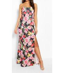 bandeau-maxi-jurk met split op de dij met bloemenprint, zwart