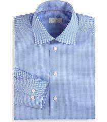eton men's contemporary-fit mini checker dress shirt - blue - size 15
