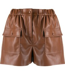 msgm faux-leather shorts - brown