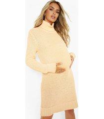 zwangerschap sweatshirt jurk met col, apricot