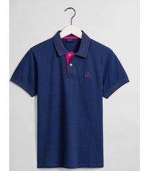 gant poloshirt persian blue pique rood contrast rugger regular fit