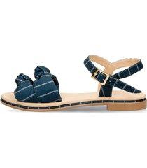 sandalias azul bata zulmita textil mujer