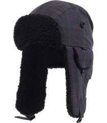 barbour men's darwen wax tartan trapper hat