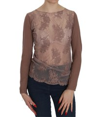 lace see through long sleeve blouse