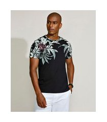camiseta masculina slim com folhagem manga curta gola careca preta