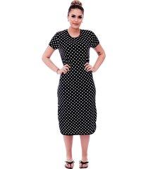 camisola ficalinda midi manga curta 3 em 1 poá preto de bolas brancas com viés preto.
