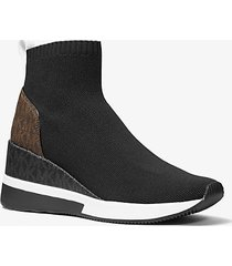 mk sock sneaker skyler in maglia stretch e logo bicolore - combo nero (nero) - michael kors