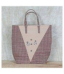 recycled plastic tote handbag, 'steel adornment' (ghana)
