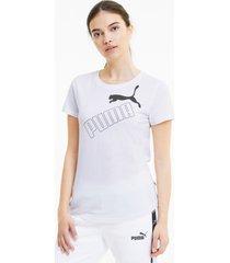 amplified graphic t-shirt voor dames, wit, maat xs | puma