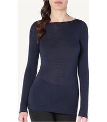 blusa modal cashmere ultralight decote canoa  intimissimi modal e cashmere azul - azul - feminino - dafiti