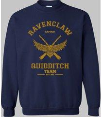 captain old ravenclaw quidditch team yellow ink unisex crewneck sweatshirt navy