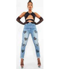 hartjes mom jeans met hoge taille, mid blue