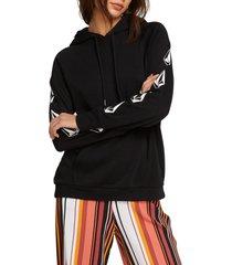 women's volcom deadly stones hoodie, size x-large - black