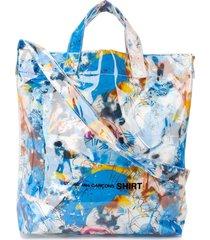 comme des garçons shirt graffiti-print tote bag - blue