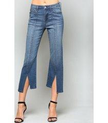 vervet high rise pin tuck crop flare jeans with front back slit hem