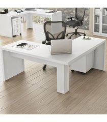 mesa para escritório angular branco me4116  - tecno mobili