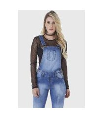 macacão hno jeans jardineira feminino