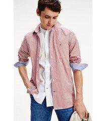 camisa de cuadros en algodón rojo tommy hilfiger