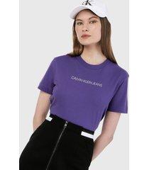camiseta violeta-blanco calvin klein