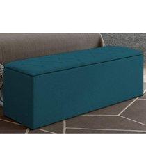 calçadeira baú paris com 160 cm azul velur textura - js móveis
